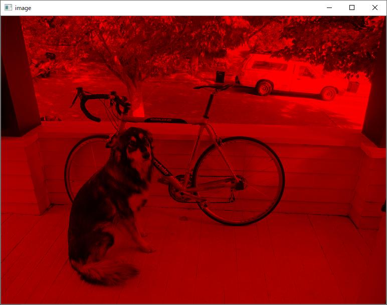犬と自転車 OpenCV Red