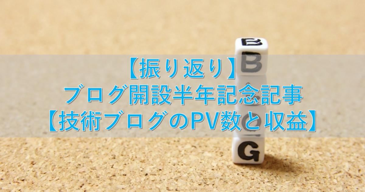 【振り返り】ブログ開設半年記念記事【技術ブログのPV数と収益】