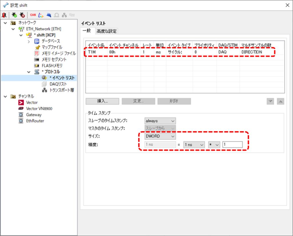 CANape、設定、プロトコル、XCP、イベントリスト、イベント名、イベントチャンネル、レート、単位、イベントタイプ、プライオリティ、DAQ、STIM、マルチサンプルの数、タイムスタンプ、スレーブのタイムスタンプ、マスタのタイムスタンプ、サイズ、DWORD、精度、1ns