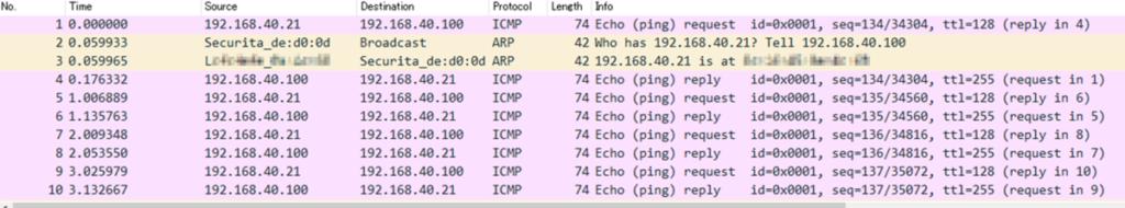 lwIP-PCシミュレーションへpingした結果