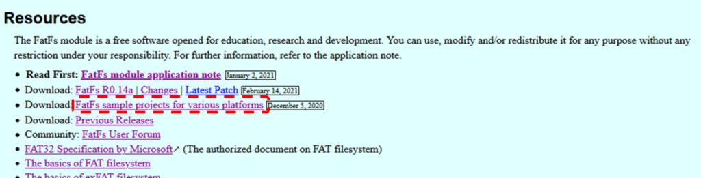 Download: FatFs sample projects for various platforms、Download: FatFs R0.14a、The FatFs module is a free software opened for education, research and development. You can use, modify and/or redistribute it for any purpose without any restriction under your responsibility. For further information, refer to the application note.