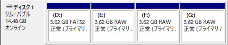 ディスク1、リムーバブルディスク、3.62GB、オンライン、D:、FAT32、正常、プライマリパーティション、E:、RAQ、F:、G: