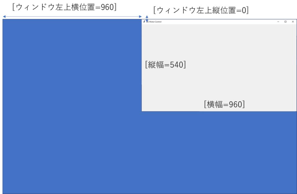 tkinterメインウィンドウ大きさ位置指定文字列、[横幅=960]、[縦幅=540]、[ウィンドウ左上縦位置=0]、[ウィンドウ左上横位置=960]